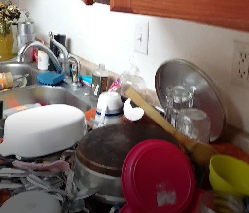 Dishes left inside Hawkins' home