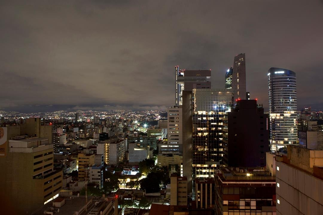 A general view of Mexico City after an earthquake, in the early morning hours of Friday, Sept. 8, 2017. A massive 8.1-magnitude earthquake hit off Mexico's coast just before midnight.