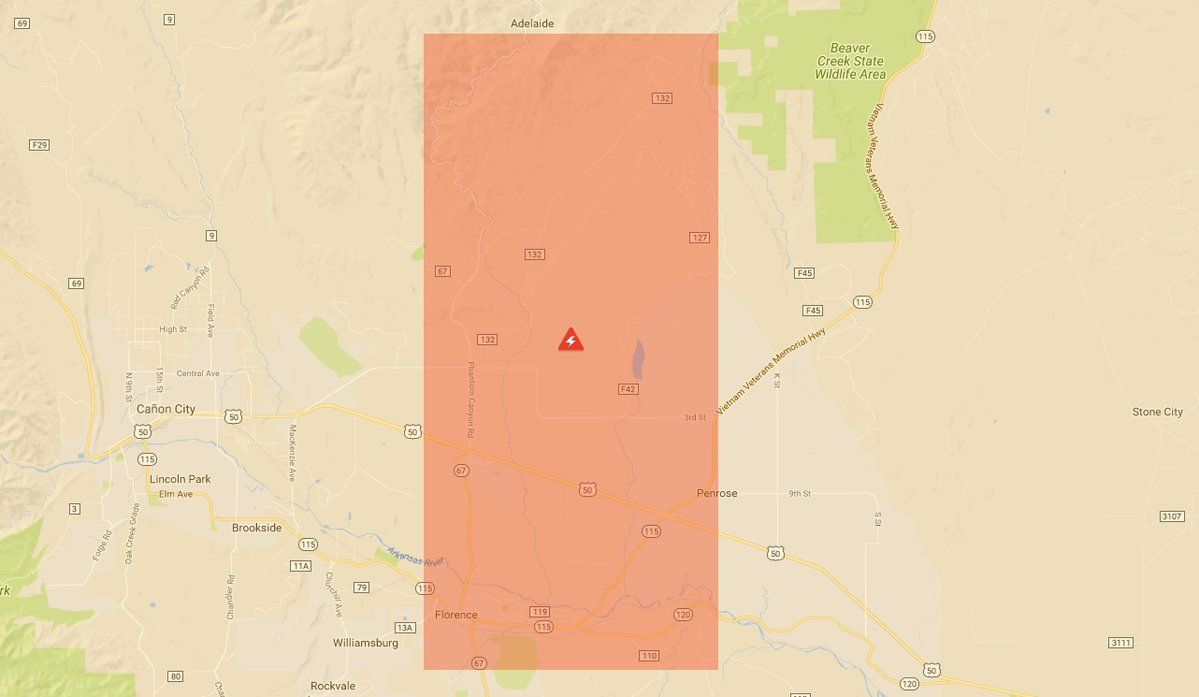 Map of power outage affected area.