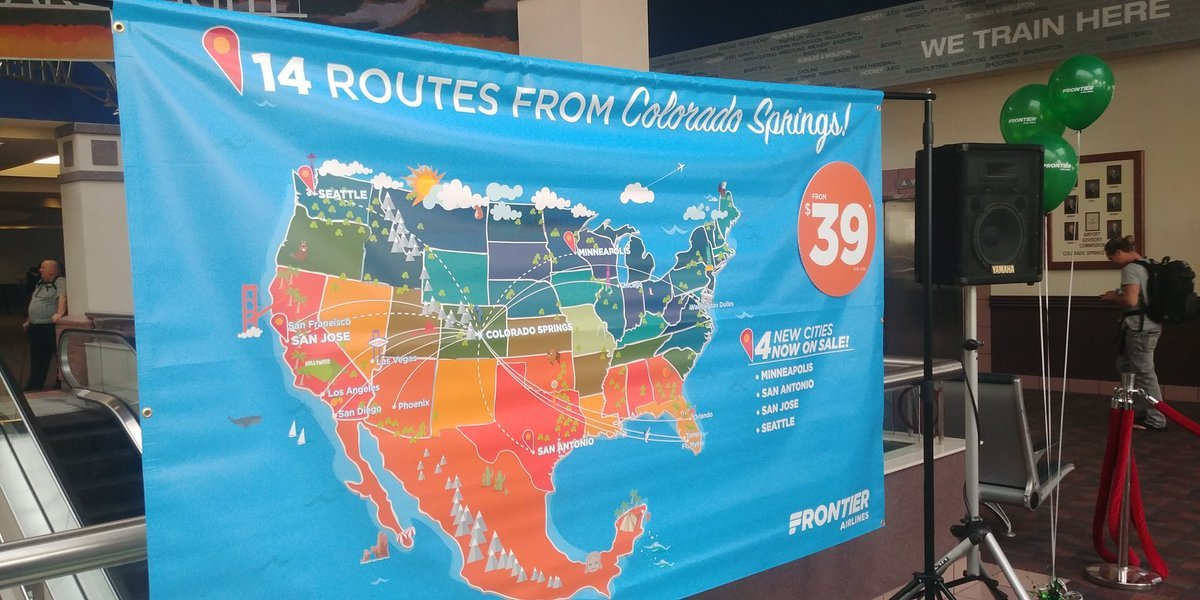 A poster showing off the new destinations available next spring from the Colorado Springs Airport,