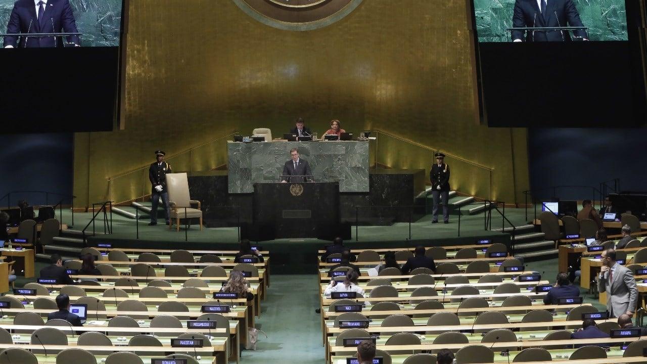President Aleksandar Vucic of Serbia addresses the United Nations General Assembly, Thursday, Sept. 21, 2017, at U.N. headquarters. (AP Photo/Richard Drew)