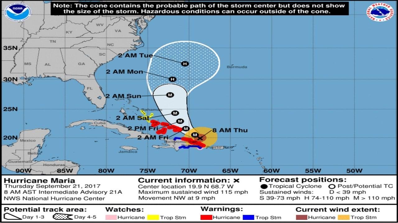 Forecast track for Hurricane Maria as of 9/21/17 (National Hurricane Center)