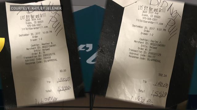Customer in Evans leaves $2,000 tip for 2 bar employees.