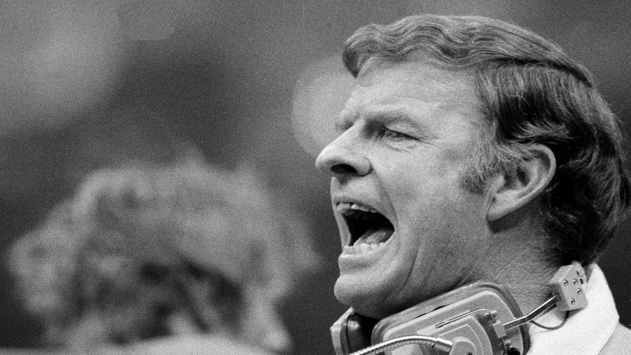 Red Miller, head coach of the Denver Broncos, yells to his team from the sidelines during Super Bowl XII action, in New Orleans, La., Jan. 15, 1978. The Broncos were defeated by the Dallas Cowboys, 27-10. (AP Photo)