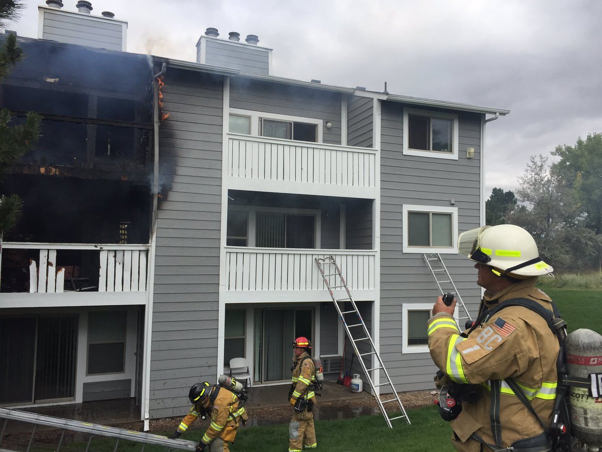 CSFD responds to an apartment fire at 135 Rockrimmon Blvd. on Oct. 2, 2017.