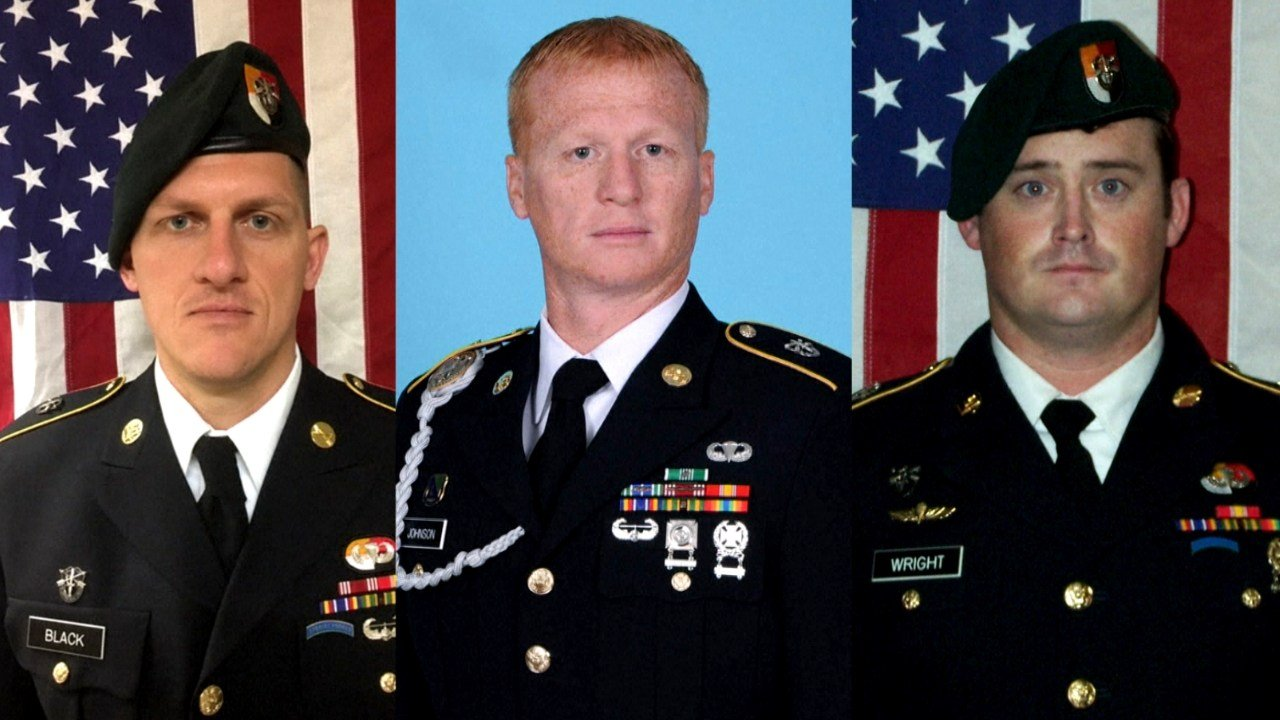 Staff Sgt Bryan Black, Staff Sgt Jeremiah Johnson and Staff Sgt Dustin Wright were killed in an ambush in Niger.