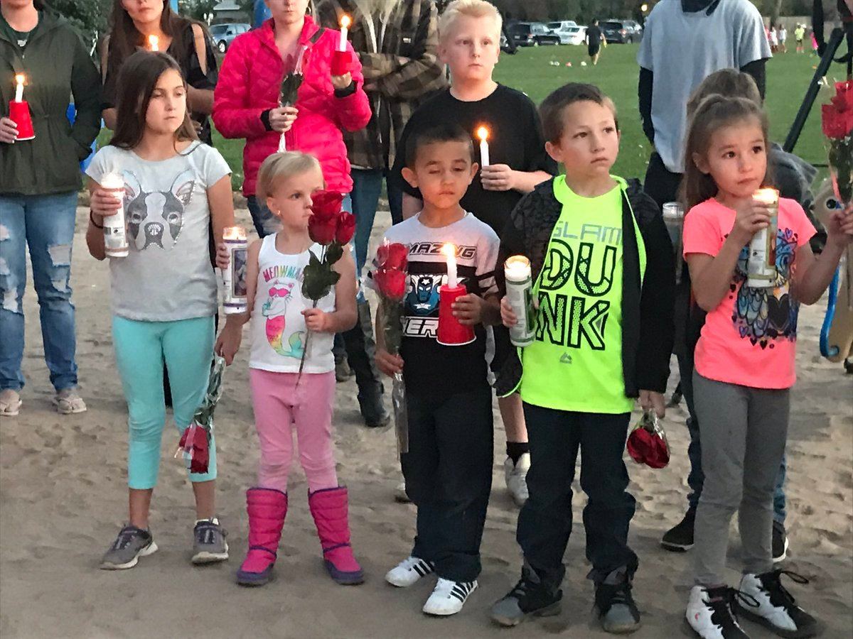 Neighborhood kids gather to remember their friends, 5-year-old Sophia and 7-year-old Noah at the park they loved. (KOAA)