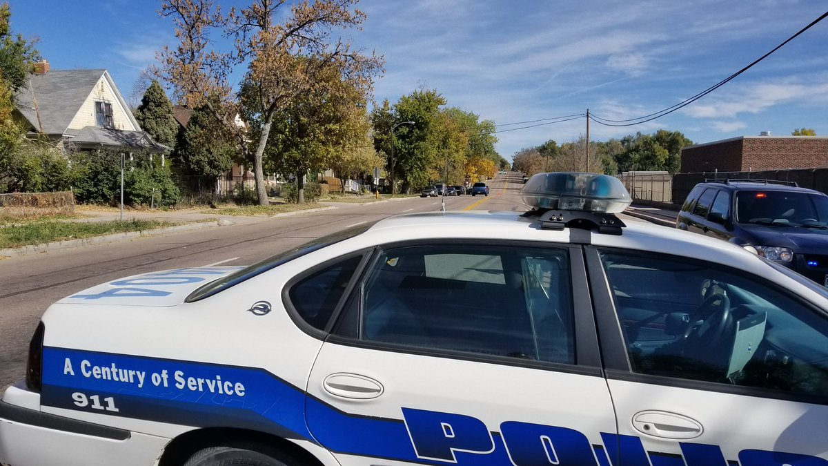 Police on the scene of a shooting near Palmer High School in Colorado Springs.