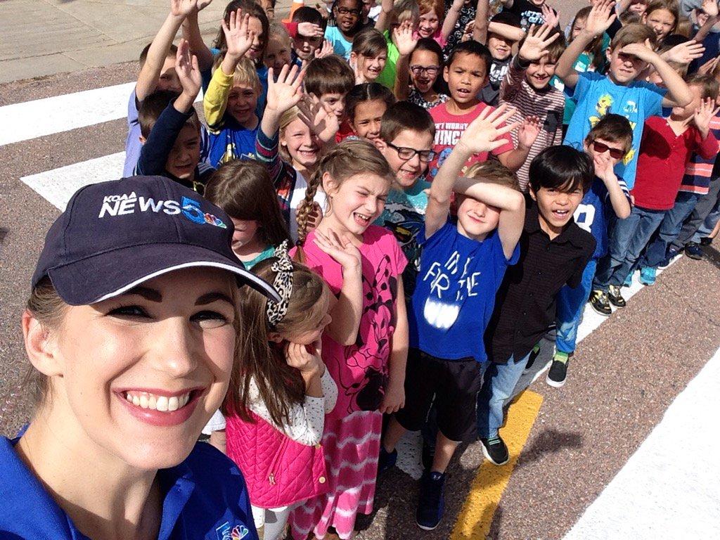 Jessica Van Meter visits with second grade students at Prairie Hills Elementary School.