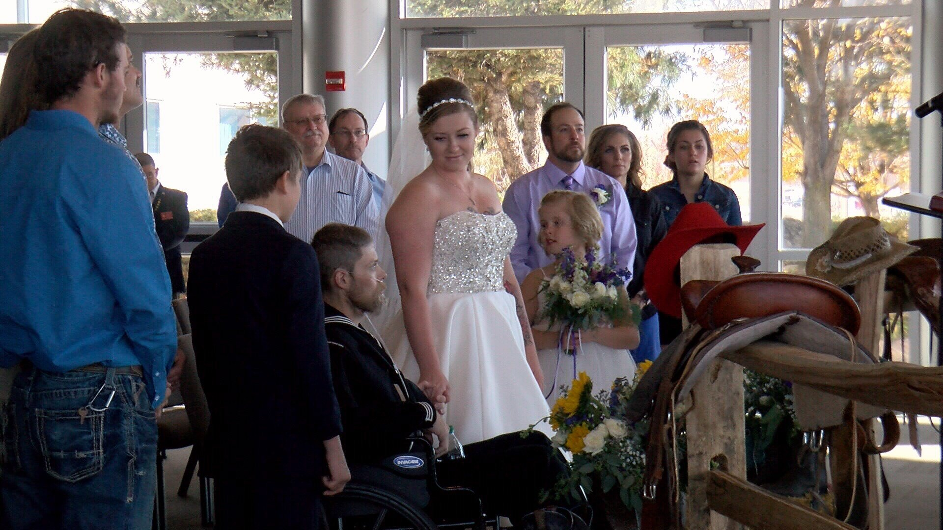 Colin Thomas and his wife renew their wedding vows.