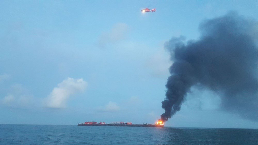 Coast Guard responds to a Port Aransas Barge Fire on Friday, October 20, 2017.