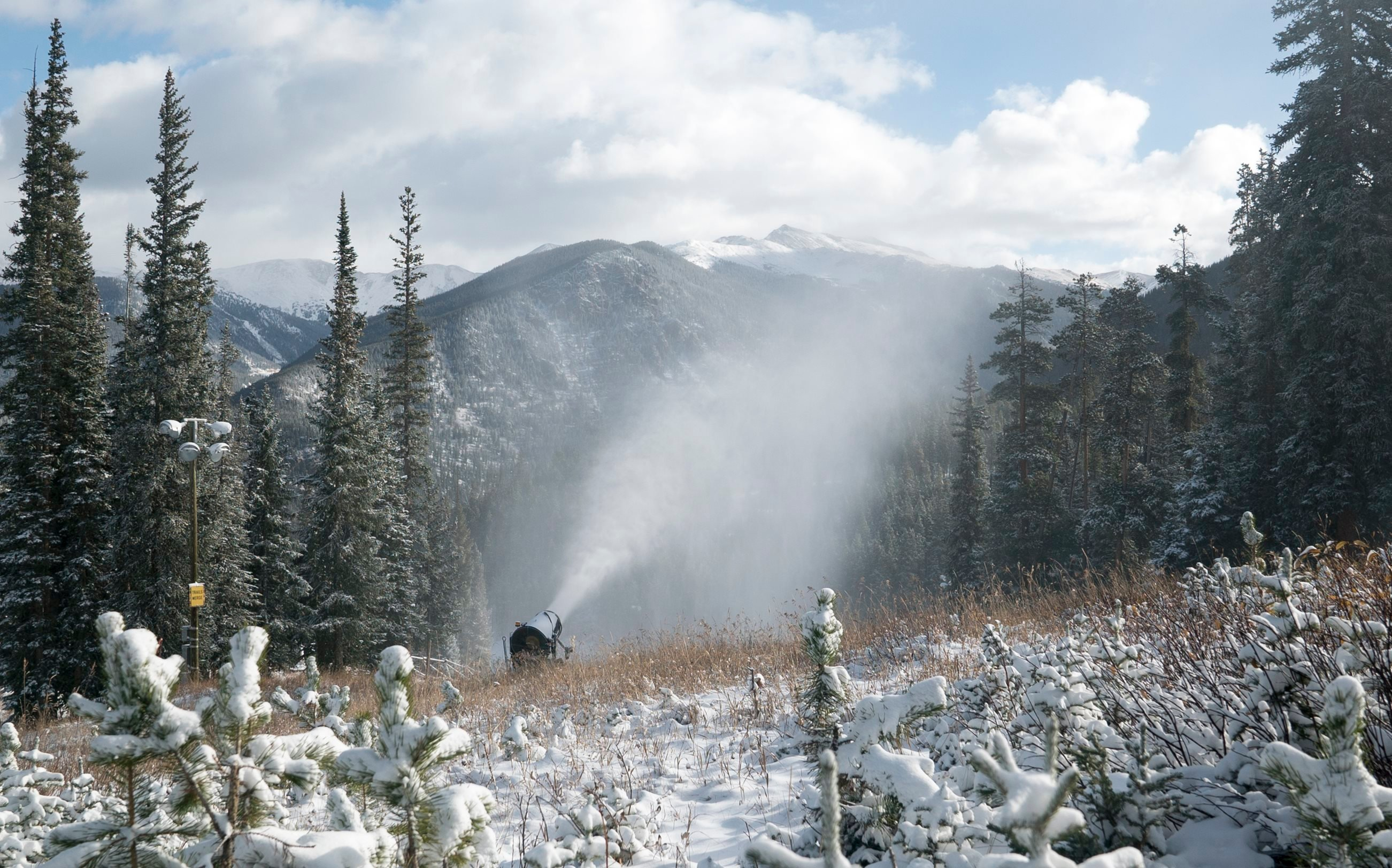 Crews at Keystone Resort are busy making snow for opening day on November 10.