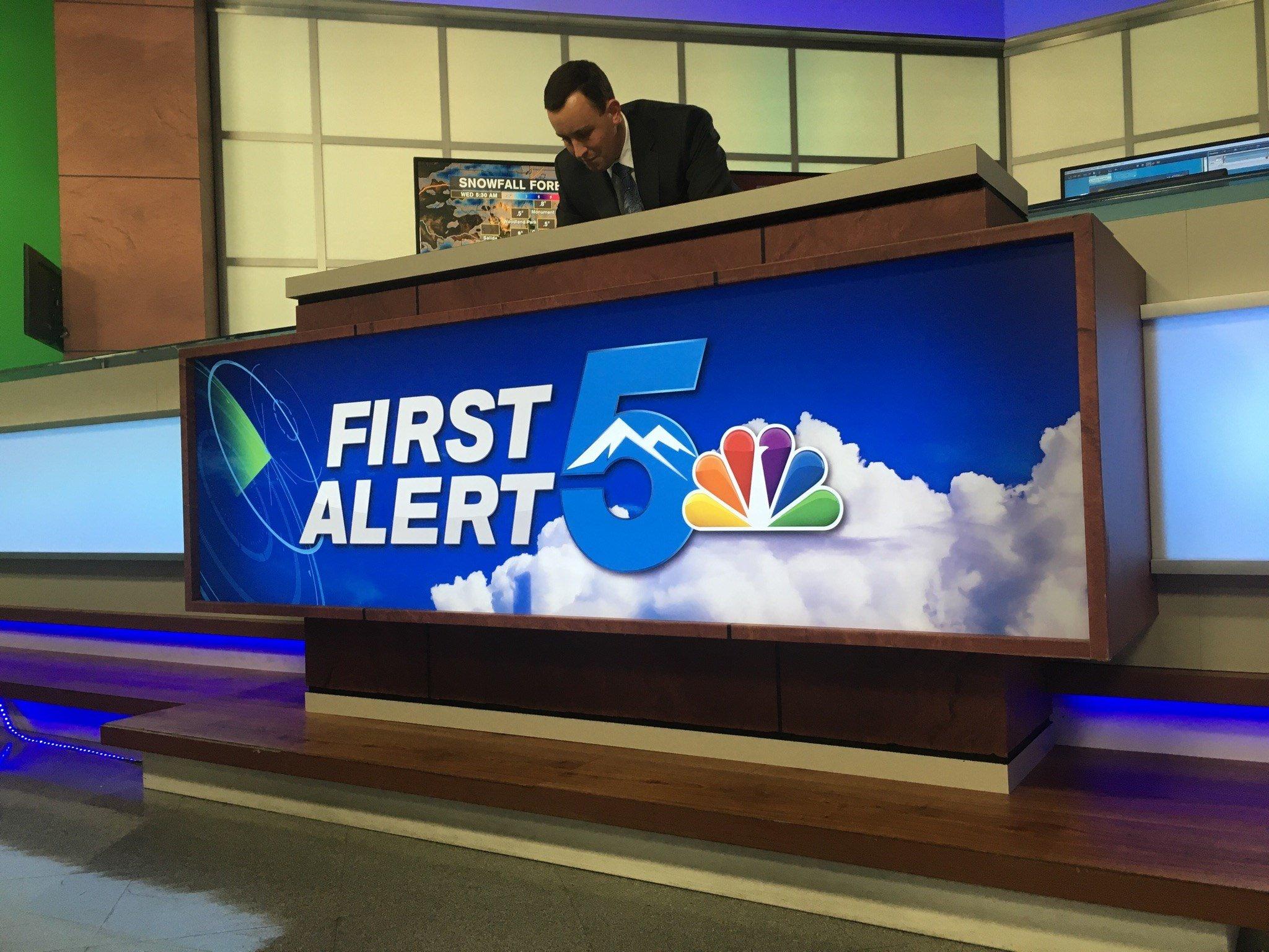 First Alert 5 Meteorologist Sam Schreier working in the First Alert 5 Weather Center on Nov. 7, 2017.