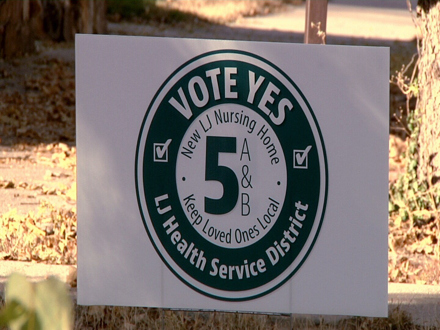 A campaign yard sign for the Yes on 5A and 5B campaign