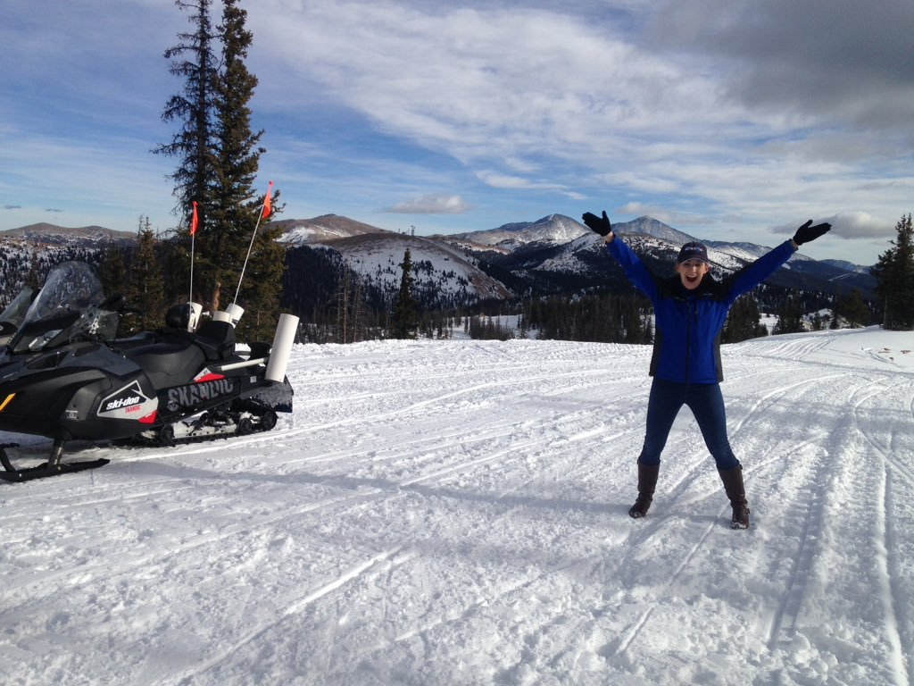 Meteorologist Jessica Van Meter enjoys the snow and views at Monarch Mountain. (KOAA)