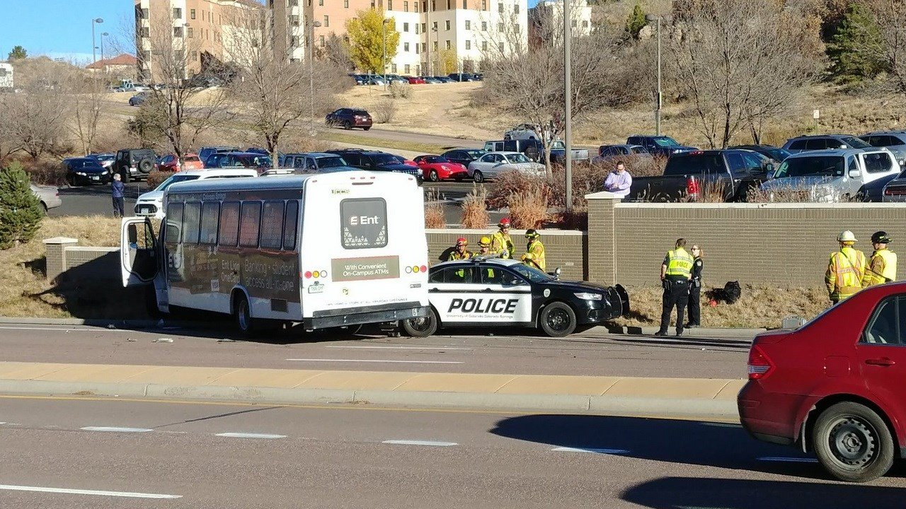 A UCCS bus and police cruiser were involved in a crash on Austin Bluffs Parkway. (KOAA)
