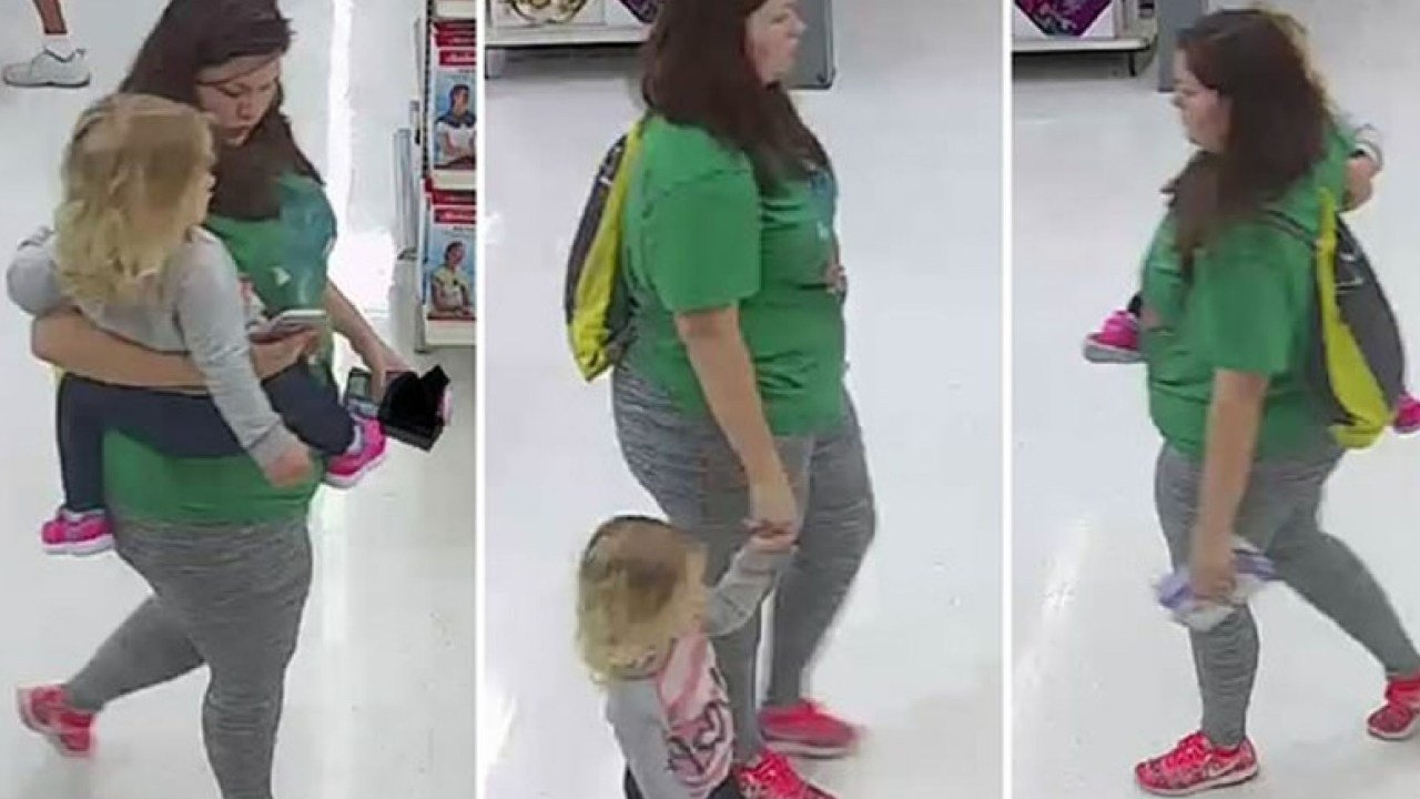 Surveillance photos of missing 3-year-old Mariah Woods with an unknown woman inside a Walmart.