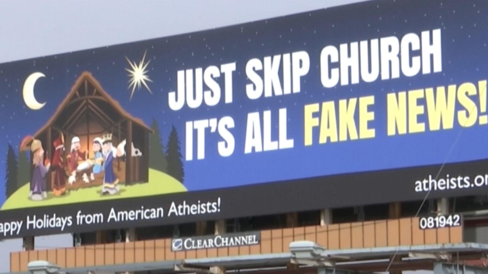 Atheist make billboard calling church 'fake news'