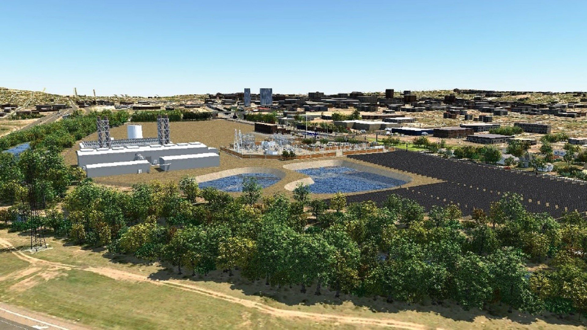 An artists rendering of a new solar farm and natural gas power plant at the site of the Martin Drake coal power plant