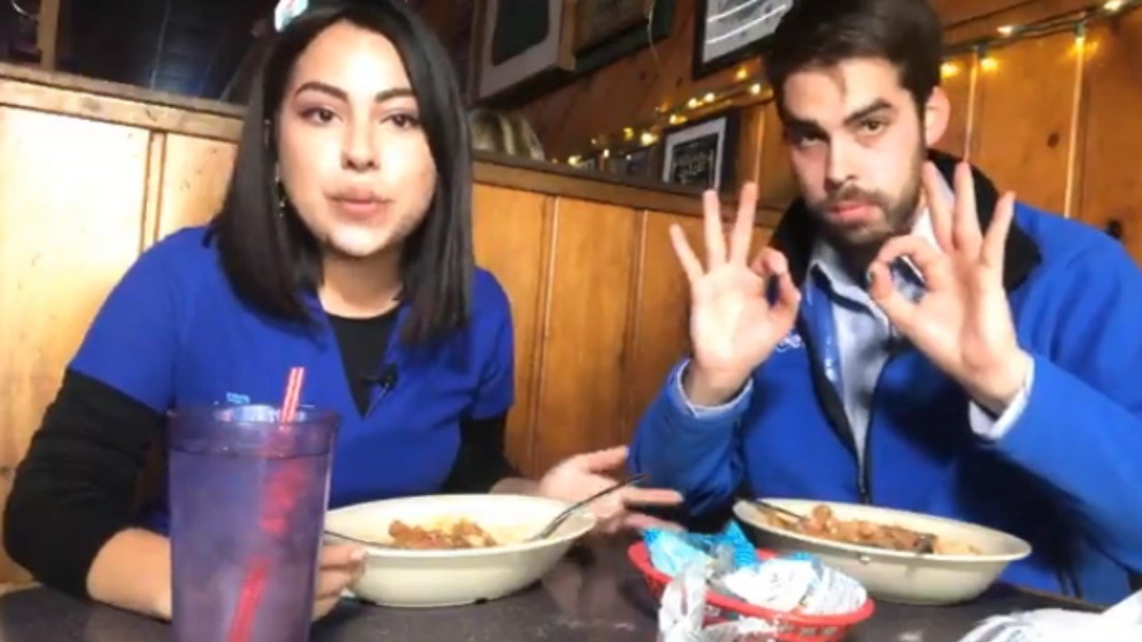 Jessica Barreto and Jon McMichael try out sloppers in Pueblo. (KOAA)