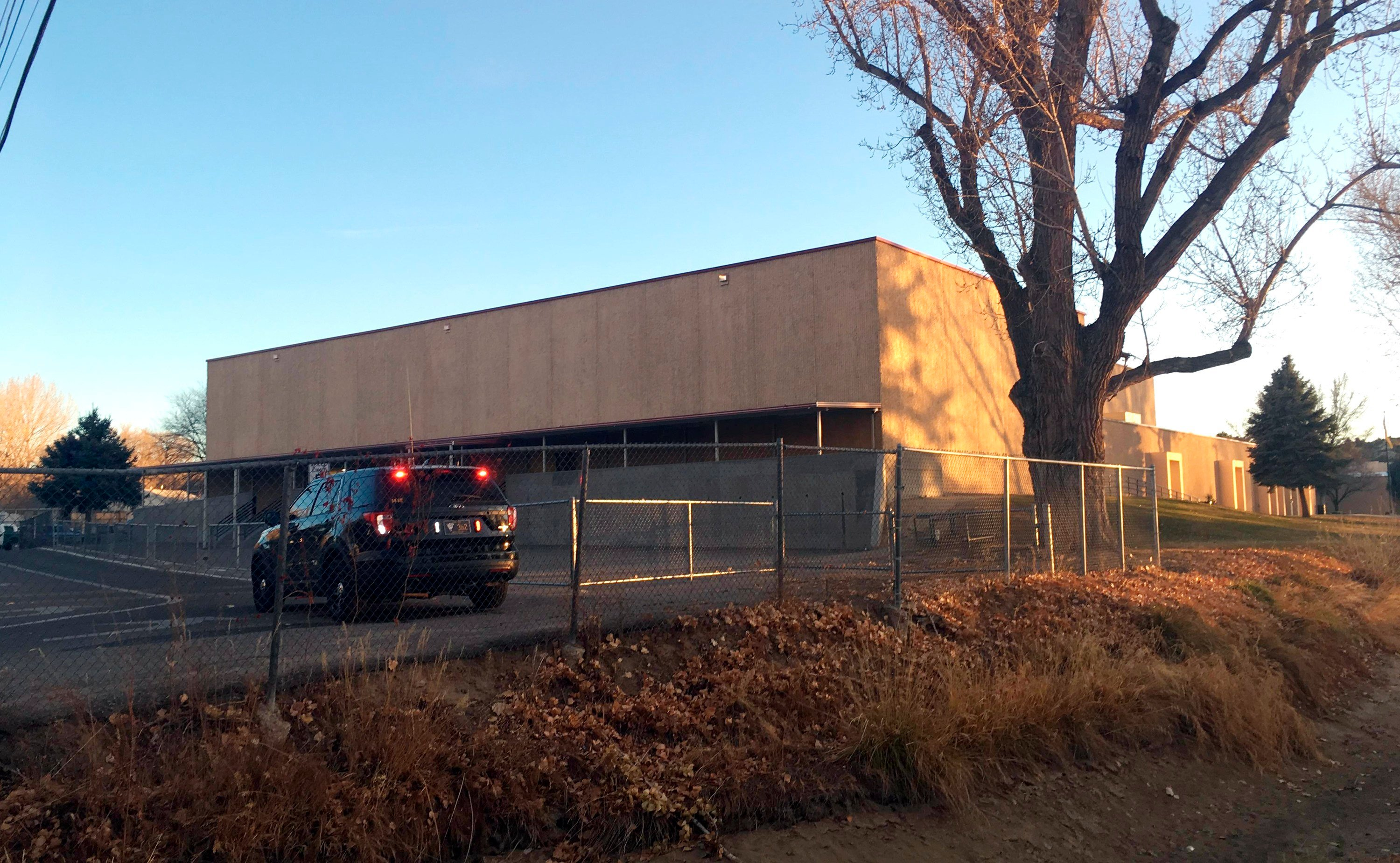 Aztec High School is shown in Aztec, N.M., Thursday, Dec. 7, 2017. Students hid in their classrooms, some behind locked doors or in closets, as a gunman opened fire Thursday inside a New Mexico high school,
