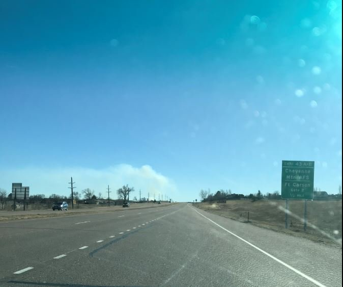 Smoke from a training range fire on Fort Carson.
