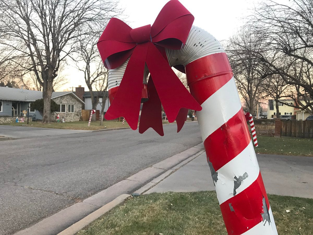 Vandals target Candy Cane Lane in Canon City, knocking over and damaging multiple human-sized candy canes. (KOAA)
