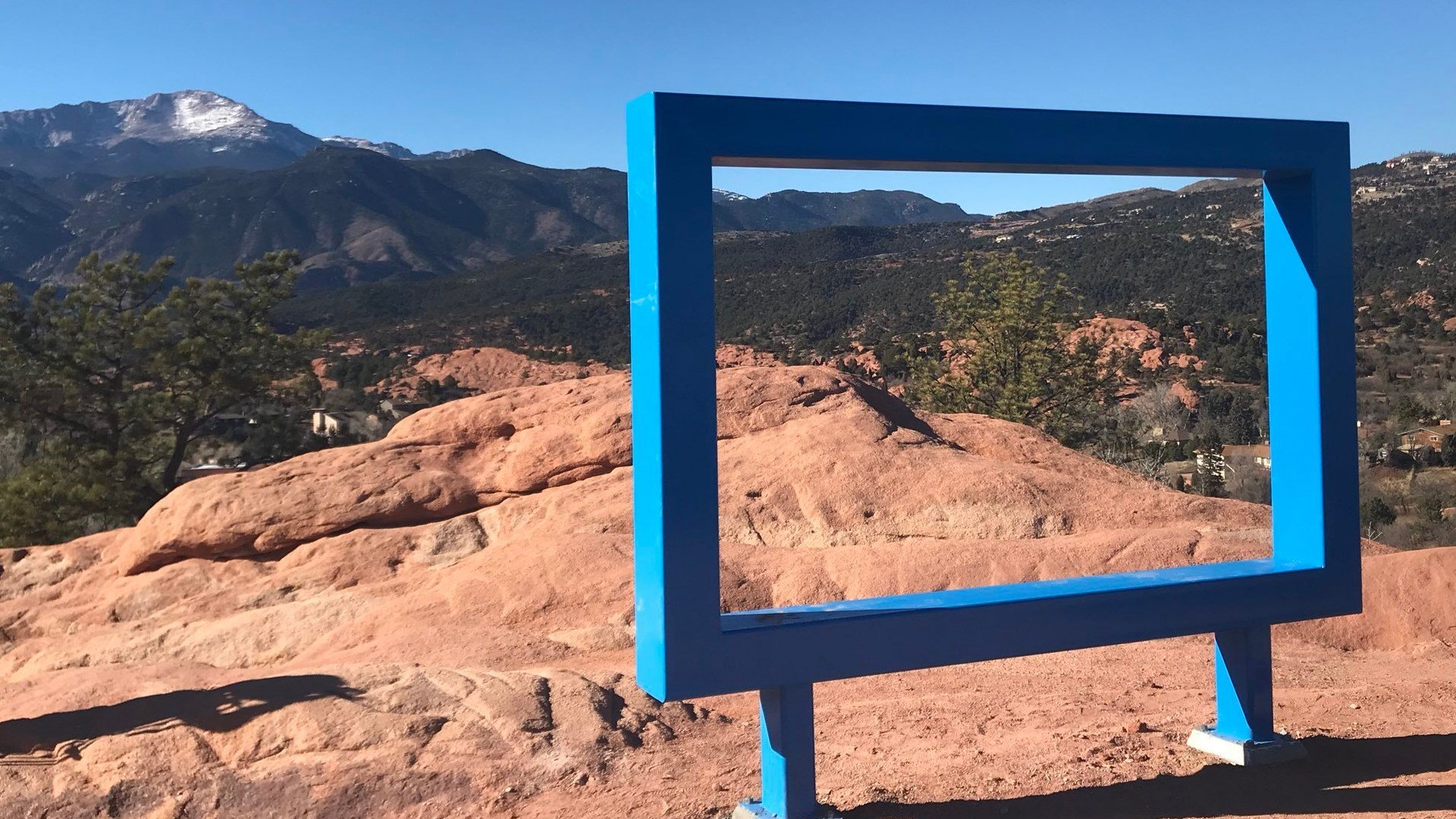 Visitors to the High Overlook at Garden of the Gods will find this giant frame intended for tourist use in photos. (KOAA)