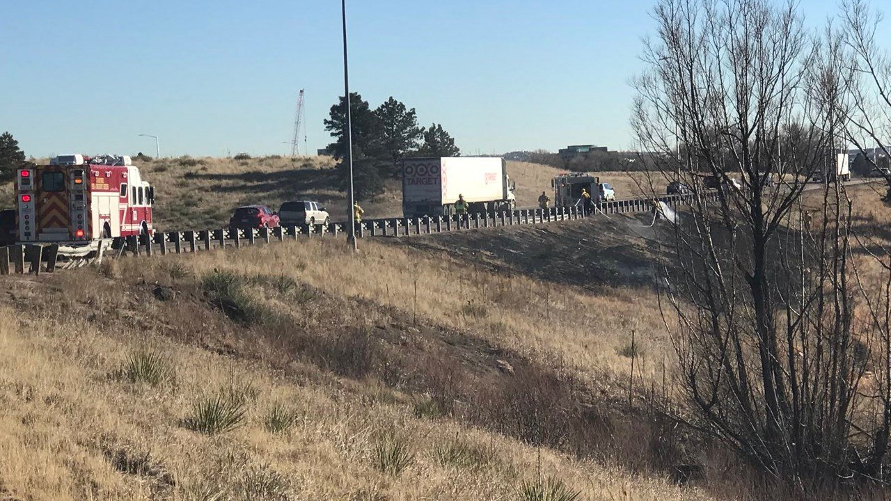 Small grass fire SBi25 at Northgate. Traffic slow go in the area. (KOAA)