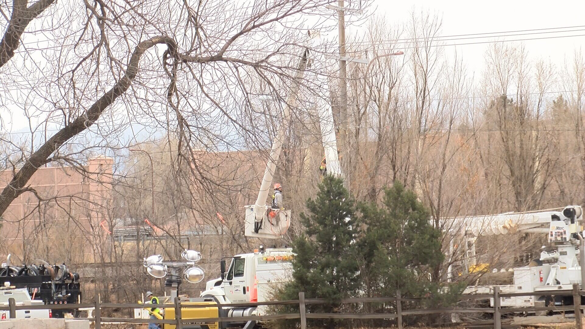 Colorado Springs Utilities crews work to restore power on Glen Ave. following a fatal crash. (KOAA)