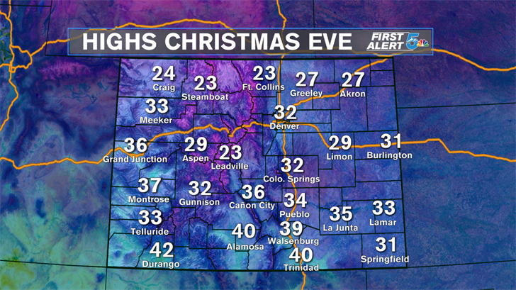 Plenty of cold leading into Christmas Eve and Day