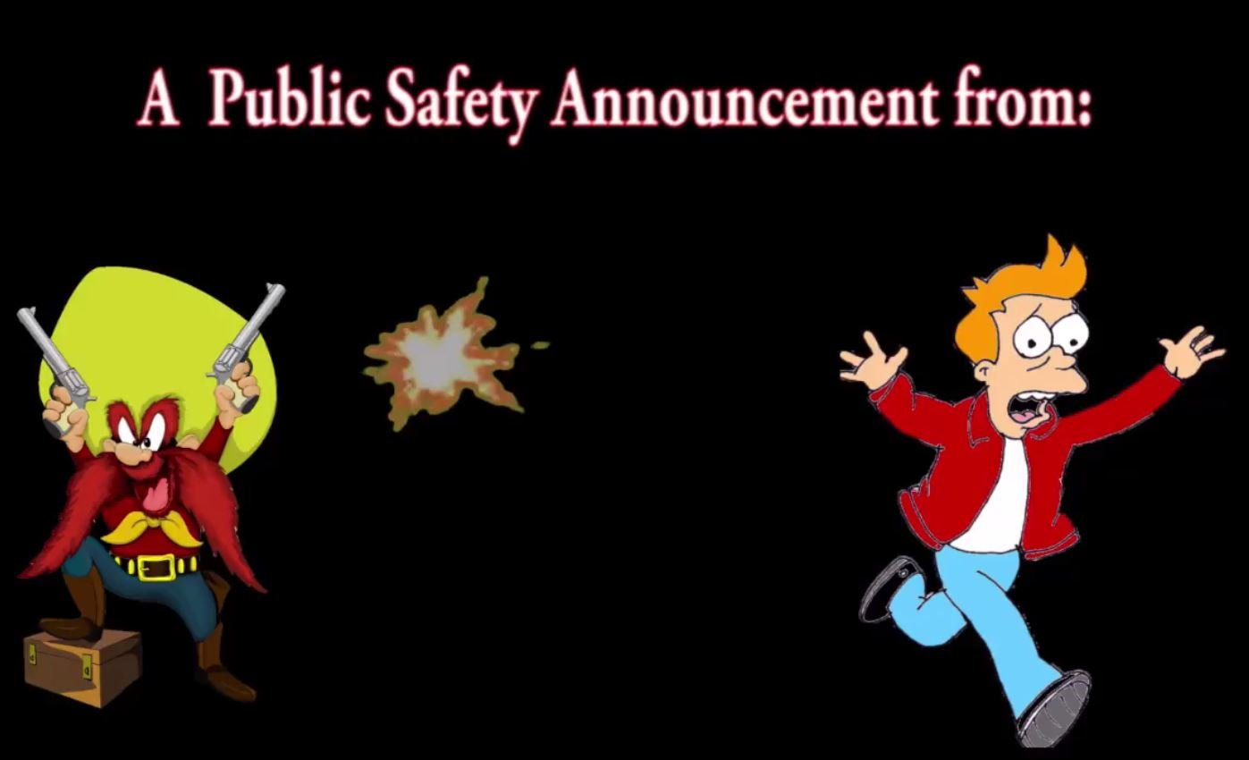 A still image from Pueblo Police's public service announcement about celebratory gunfire.