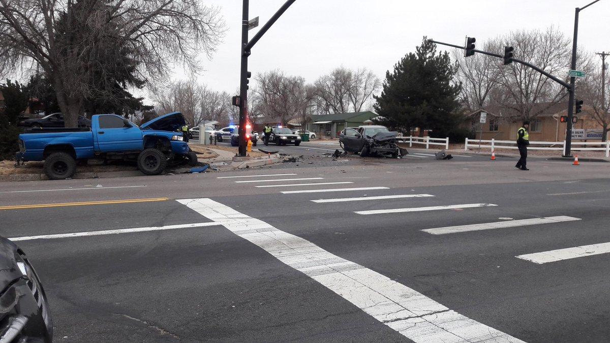 The scene of a crash and a carjacking at Circle Drive and Bijou Street on Jan. 15, 2018.