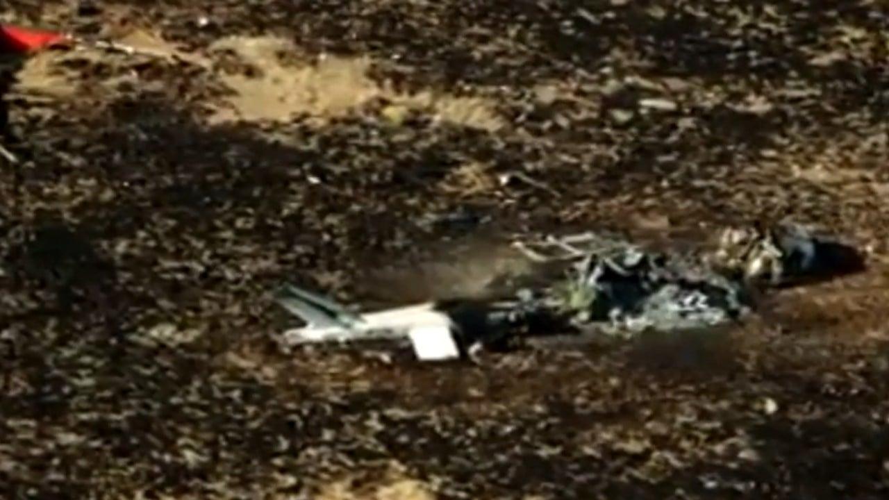 Helicopter crash scene near Raton, New Mexico. (KOB)