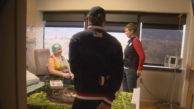 Olympians Allison Jones Jason Brown visited patients at UCHealth Memorial in Colorado Springs.