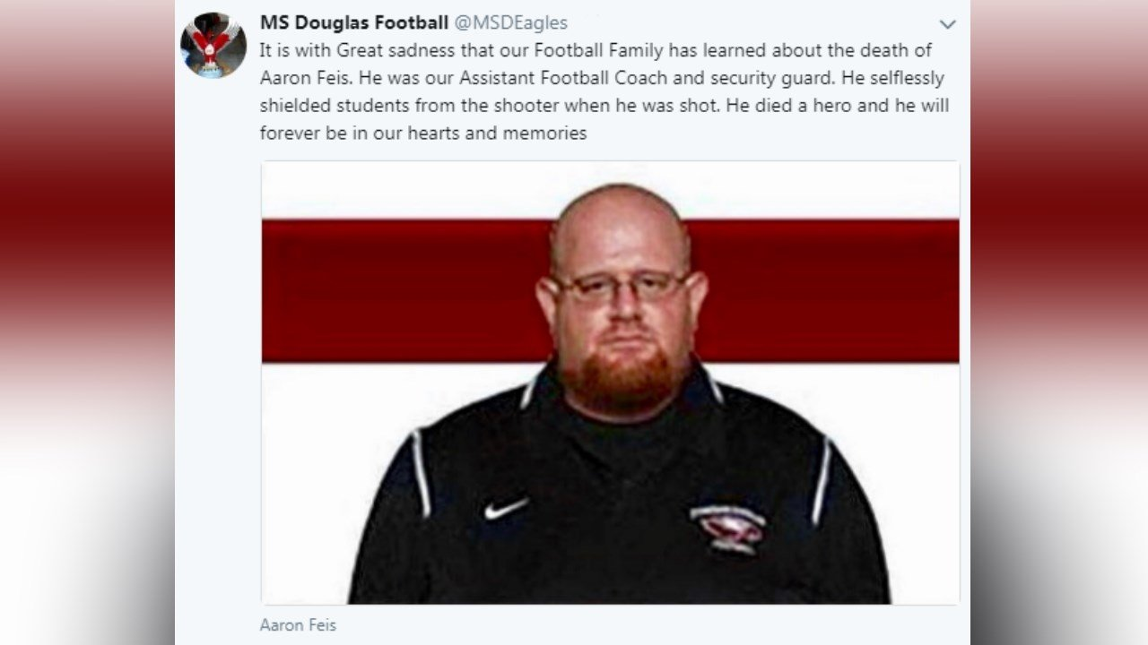 Aaron Feis worked as a football coach and security guard at Marjory Stoneman Douglas High School.