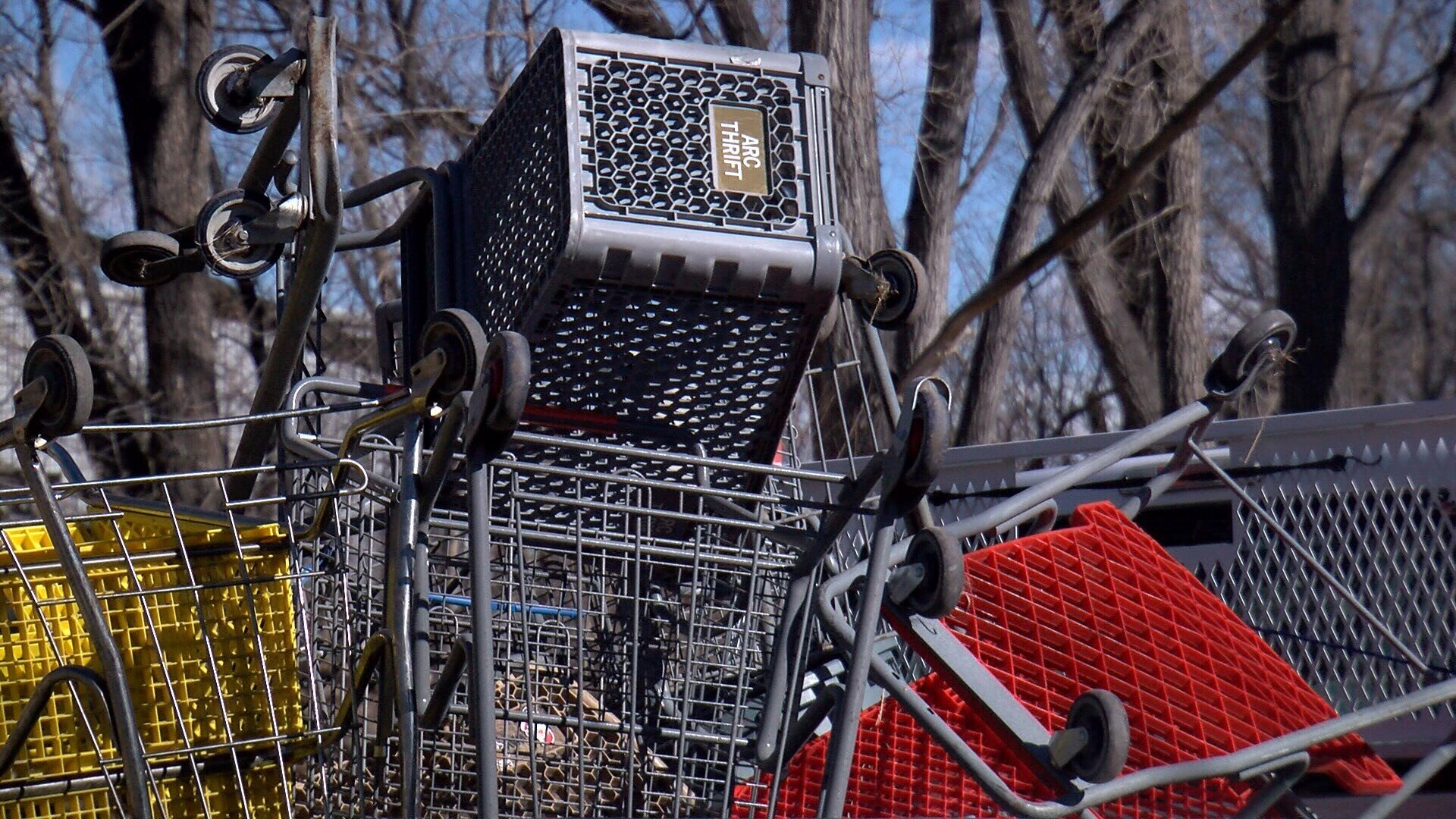 Grocery carts found within a homeless camp in Colorado Springs. (KOAA)