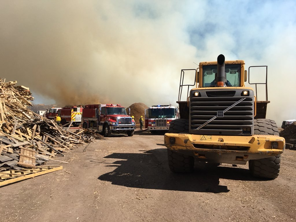 Fire burning outside wood recycling facility in southeast Colorado Springs
