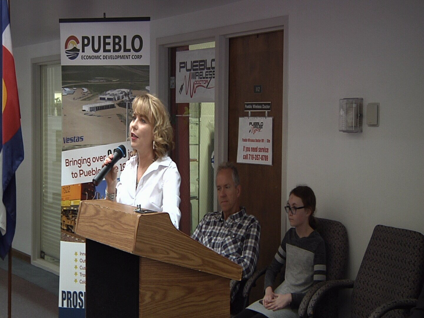 Diana Hall, founder of ActivArmor, speaking at PEDCO announcement