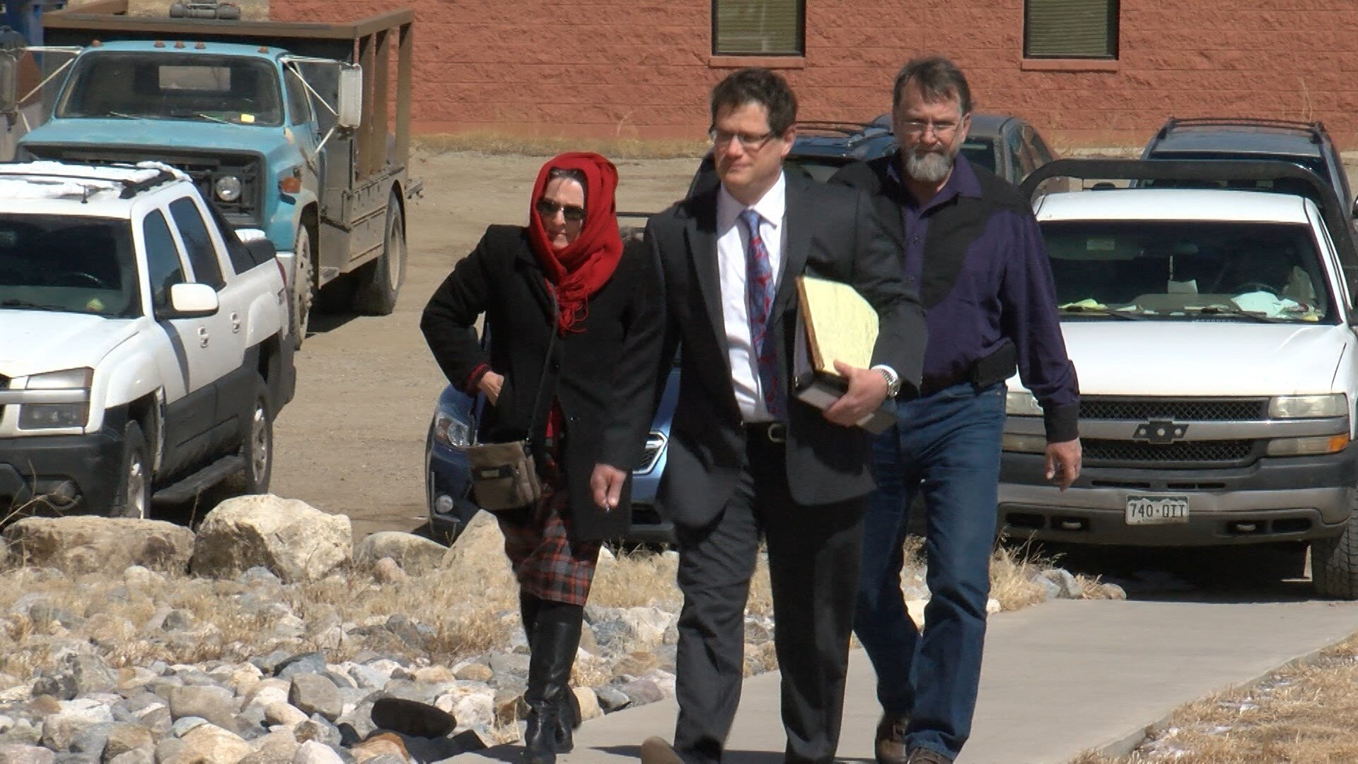 Torin and Rena Smith, along with their attorney walk into the Park County Courthouse Monday afternoon