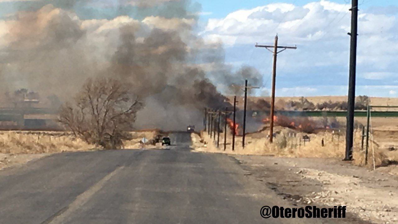 A weed and grass fire along Highway 10 in Otero County. (Otero County Sheriff's Office)