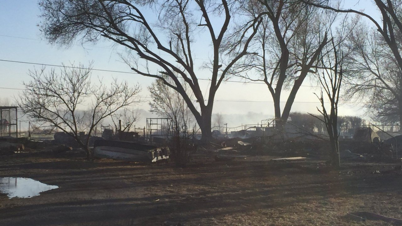Homes and cars destroyed in fire south of the Pueblo airport. (KOAA)