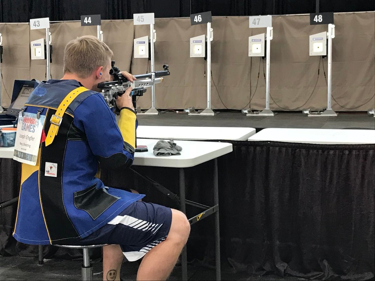 Joseph Engfer, retired Navy, competes in a shooting event on Day 5 of the Warrior Games. (KOAA)