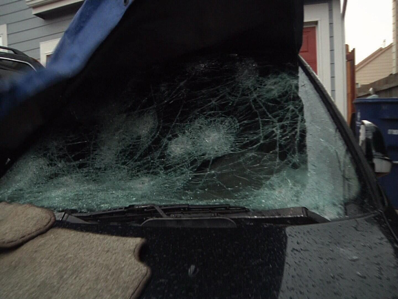 Car damaged by hail in Fountain