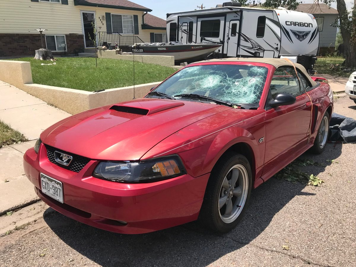 2002 Mustang totaled after overnight hail storm in Fountain. (KOAA)