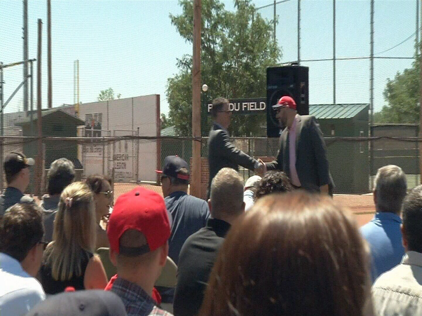 Pueblo County Economic Development Director Chris Markuson, left, introduces Orem Owlz owner Jeff Katofsky