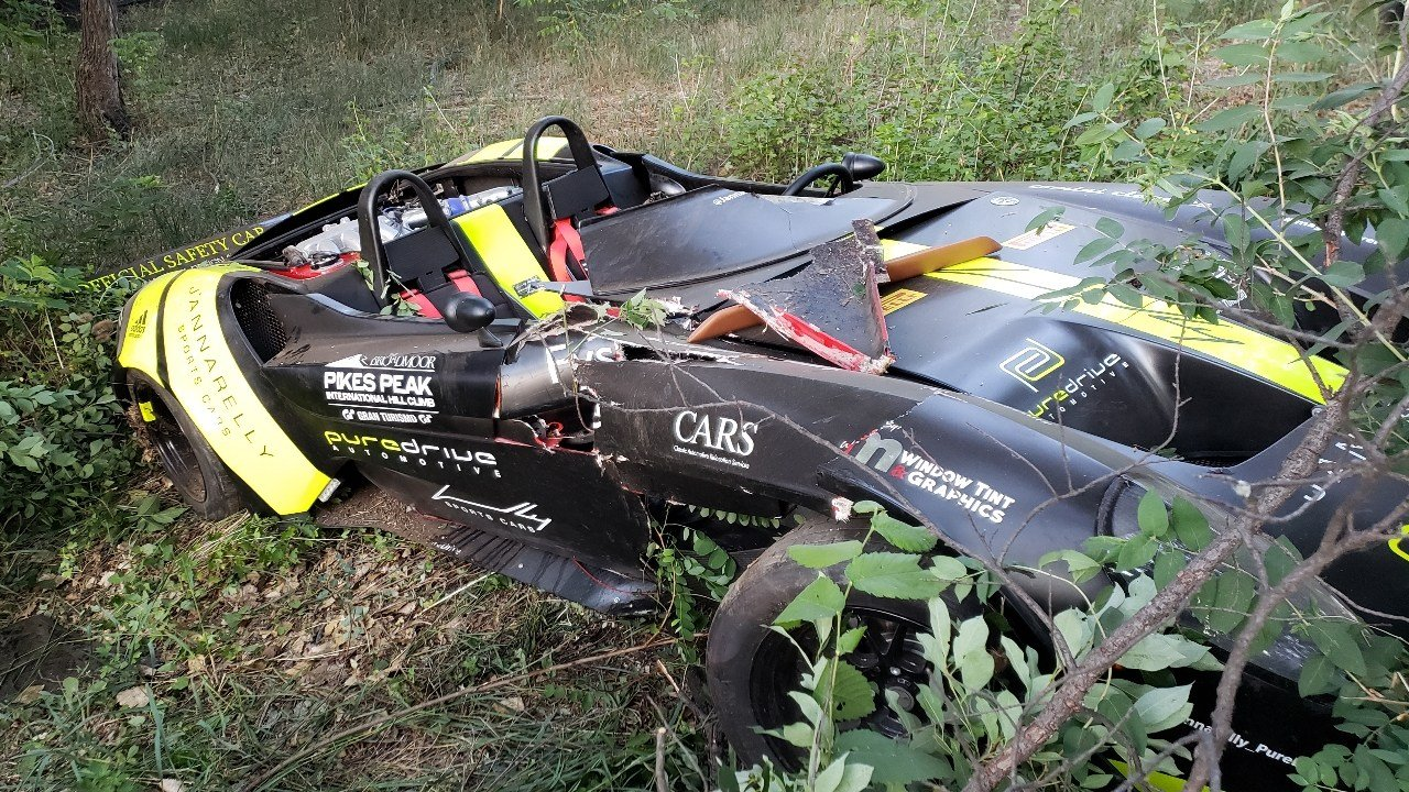 News 5 viewer photos show the Official Safety Car of the Pikes Peak International Hill Climb crashed in Colorado Springs.