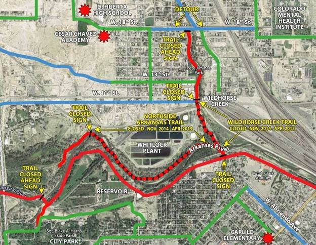 Levee project map, provided by the City of Pueblo.