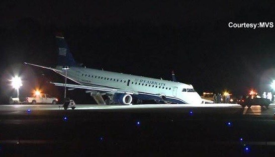 Plane lands on nose in emergency landing