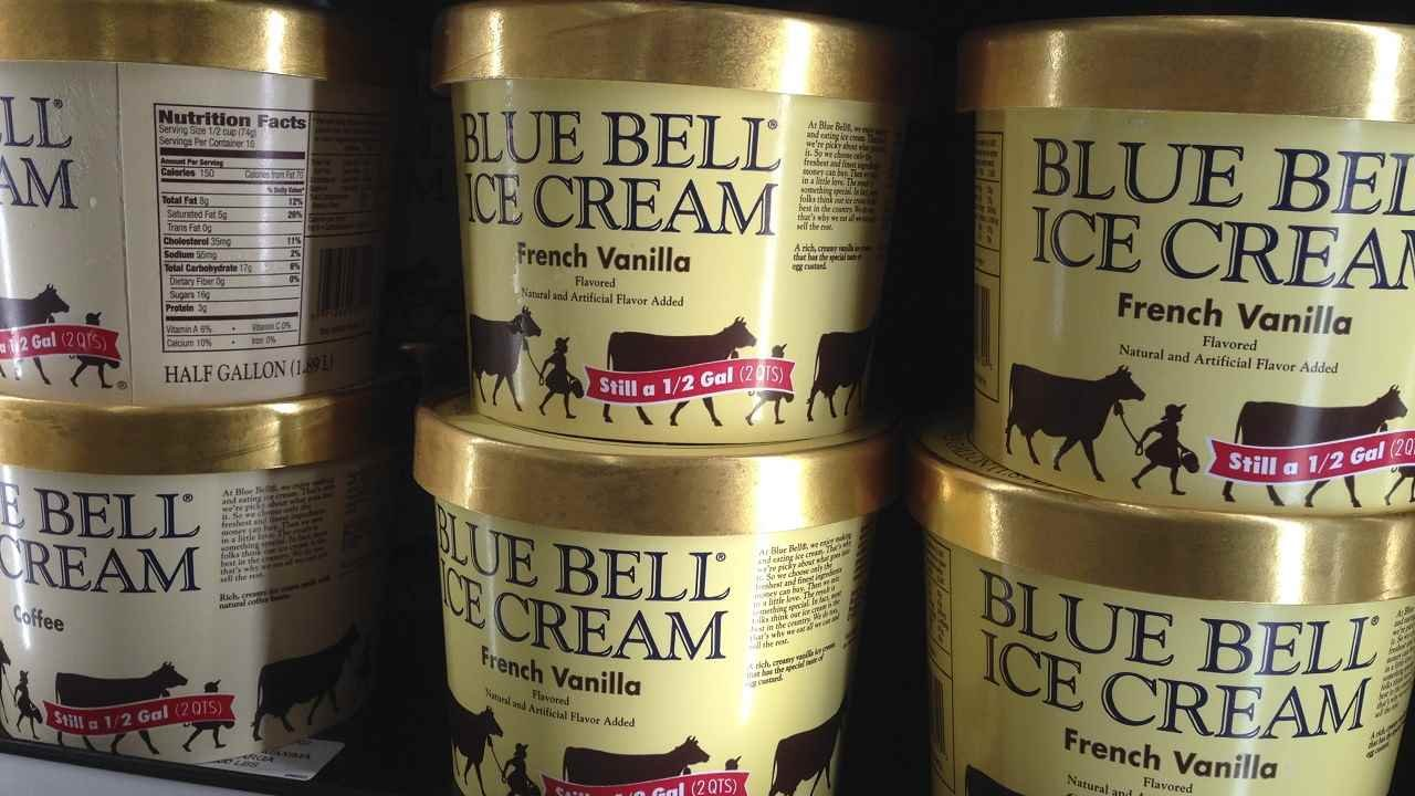 Blue Bell ice cream stands for sale on a grocery store shelf in Lawrence, Kan., Friday, April 10, 2015. (AP Photo/Orlin Wagner)